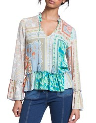 Plenty By Tracy Reese Romantic Ruffle Accented Blouse Multi