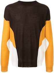 Wooyoungmi Contrast Panels Jumper Brown