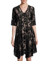 Taylor Lace Asymmetric Hem Dress Black Pink