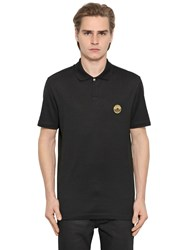 Versace Medusa Detail Embroidered Pique Polo