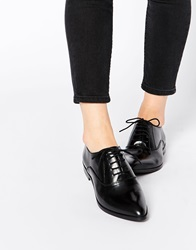 Park Lane Point Lace Up Leather Flat Shoes Black