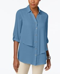 Jm Collection Tiered Roll Tab Blouse Only At Macy's Quiet Harbor