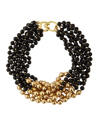 Kenneth Jay Lane Black And Golden Beaded Multi Strand Necklace