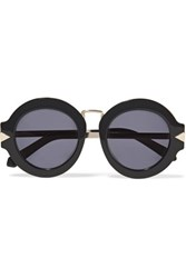 Karen Walker Alt Fit Maze Round Frame Acetate And Metal Sunglasses Black