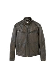 Mango Leather Biker Jacket Brown