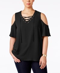 Inc International Concepts Plus Size Lace Up Cold Shoulder Top Only At Macy's Deep Black