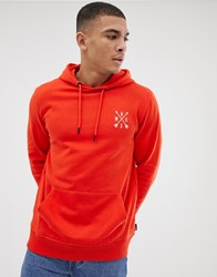 Burton Menswear Hoodie With Chest Embroidery In Orange
