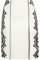 Fendi Contrast Leather Pencil Skirt White