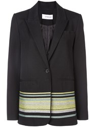 Derek Lam 10 Crosby Single Button Blazer With Embroidery Black