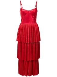 Marchesa Notte Pleate Midi Dress Red