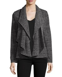 Chelsea And Theodore Cascade Draped Long Sleeve Jacket Black White