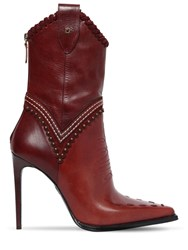 Dsquared 120Mm Westerly Stitched Leather Boots Bordeaux