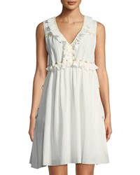Leon Max Beaded Cotton Gauze Mini Dress Off White