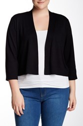 Cable And Gauge Long Sleeve Shrug Plus Size Black