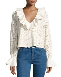 See By Chloe Ruffled Long Sleeve Lace Top White