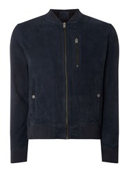 Selected Homme Suede Bomber Jacket Blue
