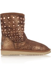 Mou Cowboy Studded Metallic Shearling Boots