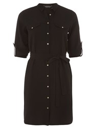 Dorothy Perkins Collar Shirt Dress With Front Button Detail Black