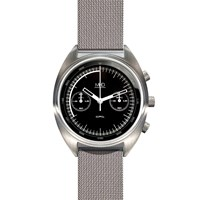 Mhd Watches Cr1 Chronograph Watch With Black Dial And Milanese Band Metal Black White Grey