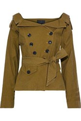 Marissa Webb Noah Double Breasted Washed Cotton Blend Twill Jacket Army Green