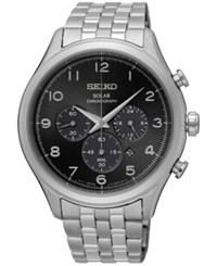 Seiko Men's Classic Solar Chronograph Stainless Steel Bracelet Watch 42Mm Ssc575 Silver