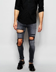 Asos Extreme Super Skinny Jeans With Open Rips In Washed Black Washedblack