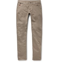 Isaia Slim Fit Stretch Cotton Twill Trousers Tan