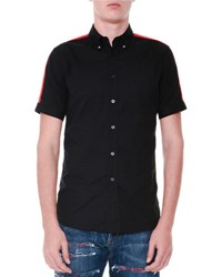 Alexander Mcqueen Short Sleeve Button Down Shirt W Red Stripes Black