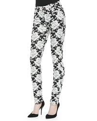 7 For All Mankind High Rise Skinny Floral Jeans White Rose