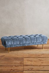 Anthropologie Slub Velvet Mina Bench Sky