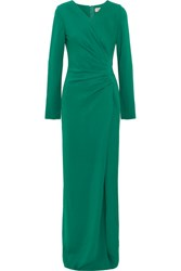 Lanvin Gathered Stretch Crepe Gown Green