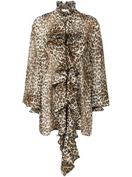 Redemption Leopard Print Ruffled Blouse Brown