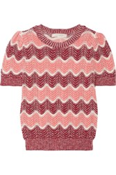 Marc Jacobs Striped Open Knit Wool Blend Sweater Pink