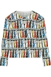 Alice Olivia Stacey Montage Printed Cotton Cardigan Black