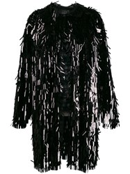 Norma Kamali All Over Sequin Trench Coat Black