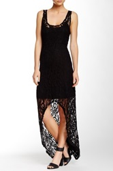 Loveappella Hi Lo Lace Maxi Dress Black