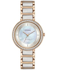 Citizen Eco Drive Women's Silhouette Crystal Jewelry Two Tone Stainless Steel Bracelet Watch 30Mm Em0483 89D No Color