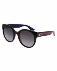 Gucci Gradient Round Sunglasses Tortoise Blue Red Brown Pattern