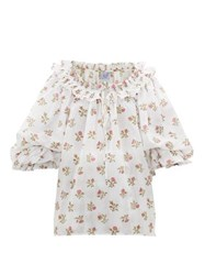 Thierry Colson Roussia Draped Floral Print Cotton Blouse White Print