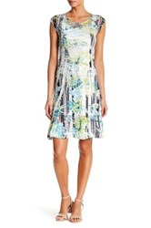 Komarov Printed Cap Sleeve Lace Dress Multi
