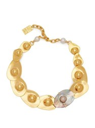 Lizzie Fortunato Clam Pearl And Gold Plated Necklace Gold