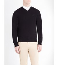 Armani Jeans V Neck Knitted Jumper Black