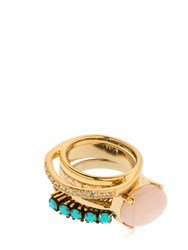 Iosselliani Set Of 4 Rings Gold Pink