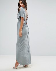 Asos Embellished Strap Grecian Maxi Dress With Cross Back Grey