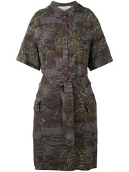Vanessa Bruno Athe Printed Shirt Dress Khaki