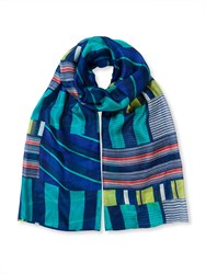 East Martina Stripe Scarf Navy