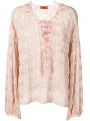 Missoni Crochet Knit Top Pink