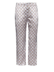 Nina Ricci Cropped Checked Silk Trousers