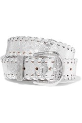 Maison Martin Margiela Embossed Metallic Leather Belt Silver