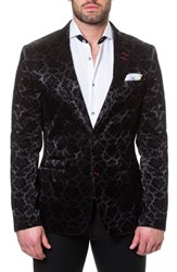 Maceoo Socrate Flocked Damask Sport Coat Black